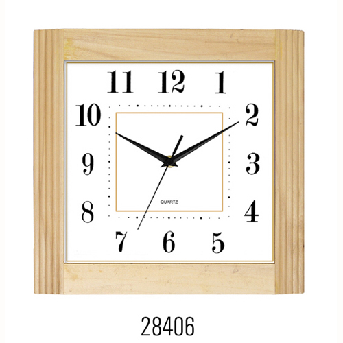 Square Wooden Wall Clock 28406